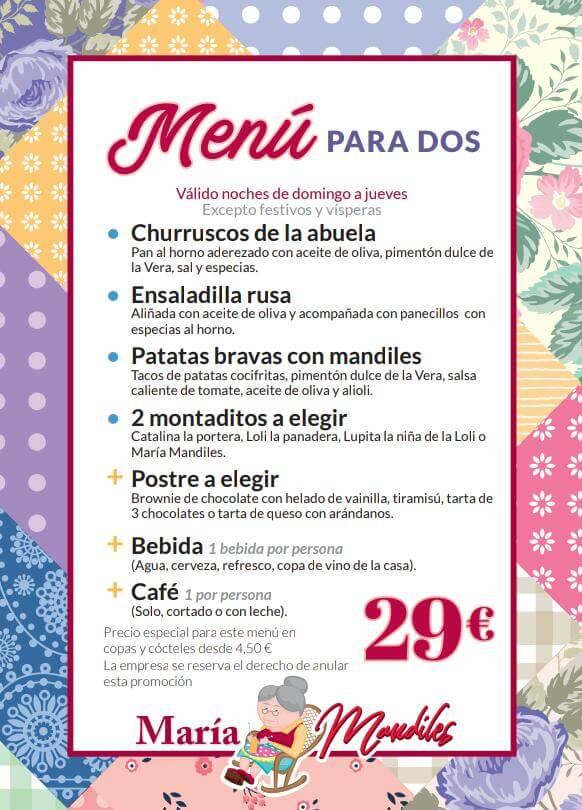 Menú para 2px - 29€