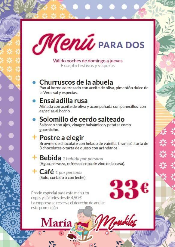 Menú para 2 - 33€