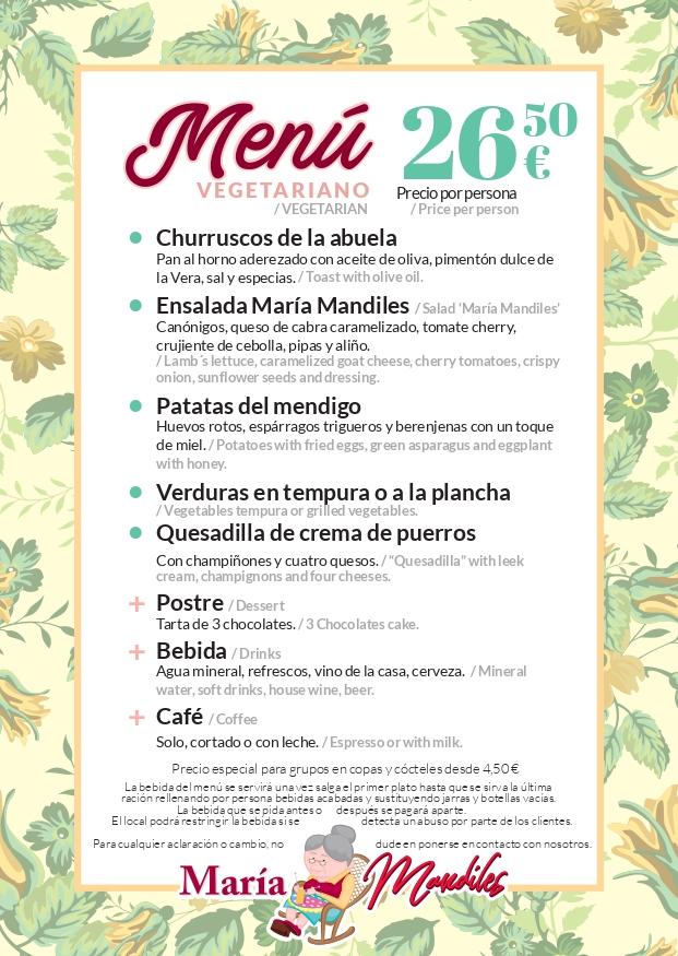 Menús Vegetarianos 26,50